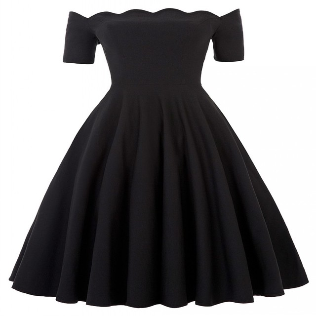 32fb4fc47e4 Off Shoulder Dress Audrey Hepburn Vestidos Vintage 50s 60s Rockabilly  Casual Robe Pin Up Swing Black Party Dresses With Sleeves