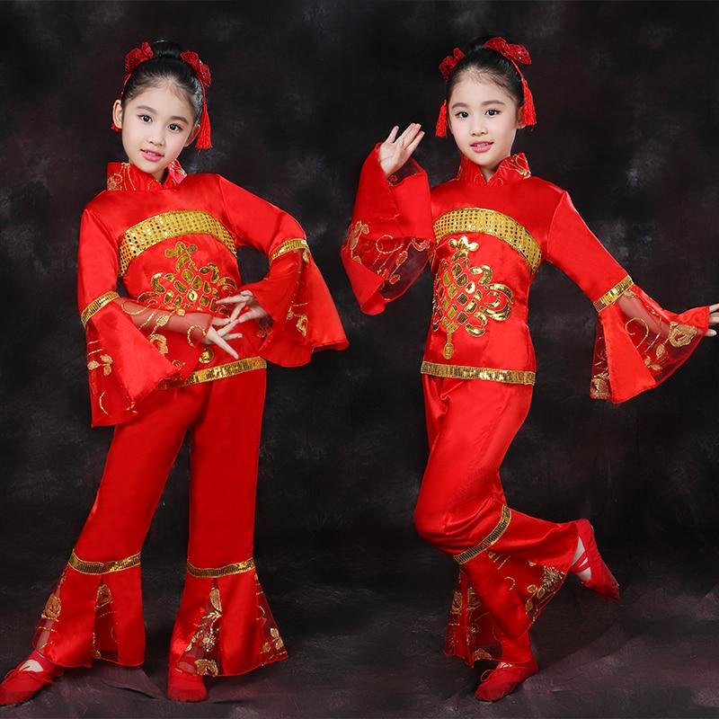 Gyermek Yangko jelmezek Lányok Nemzeti Fesztivál Táncruhák Kínai - Újdonság