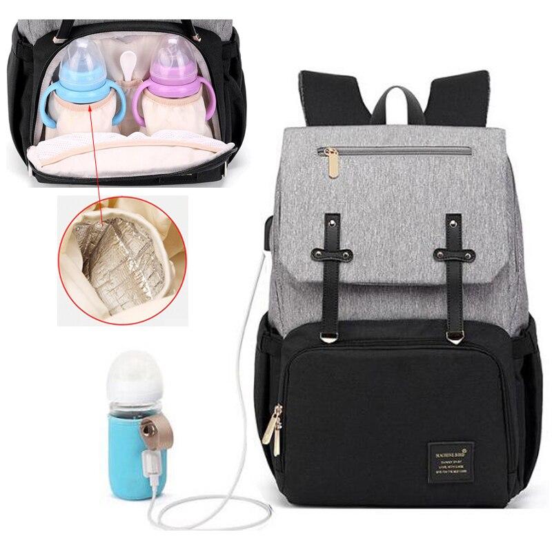 USB imperméable à l'eau poussette couche sac à dos pour maman maternité Nappy femmes voyage infantile multifonction bébé sac isolation soins infirmiers
