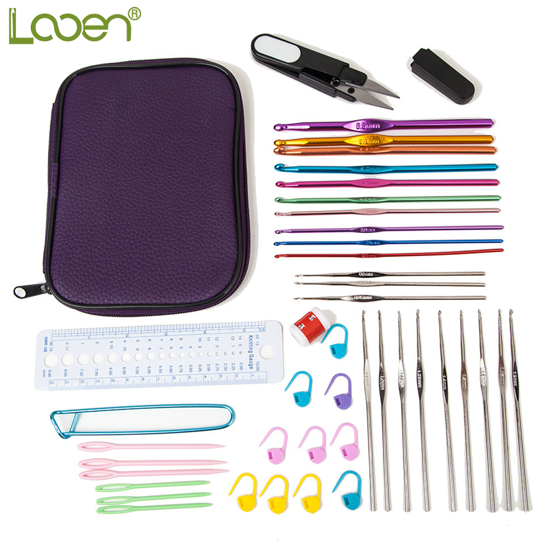 Looen Brand 22Pcs Mix Sizes Crochet Hooks Set Yarn Craft Kit Knitting Accessories For Women Weave DIY Craft Tools With Case