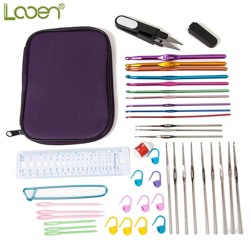 Looen marca 22 unids tamaños de la mezcla de ganchos de ganchillo conjunto de hilo Craft Kit accesorios de tejer para mujeres tejer DIY Craft herramientas con estuche