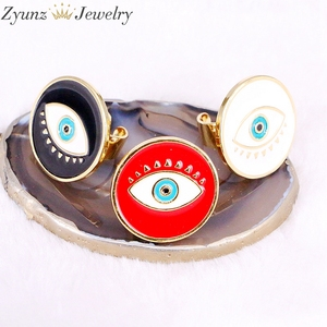Image 3 - 10PCS, NEW Mix Enamel Eye Ring, Gems Rings, Women Jewelry Ring, Blue / Black/Red Enamel Ring, Adjustable