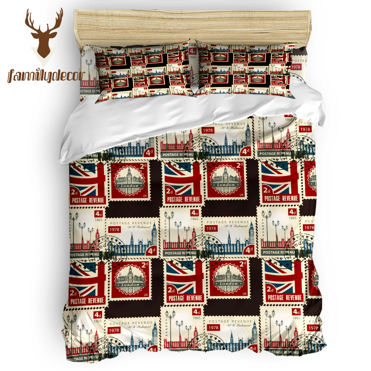 Family Decor Vintage London Stamp 4 Pcs Comforter Cover Set Quilt Cover Bedding April Fool's Day California King Mother's Day(China)