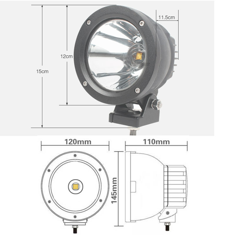 25W 3.6 inch Led Cannon Spot Driving Lights Work Lamp Offroad 4WD Truck Motorcycle Marine Boat Auto Car Styling Spotlights (3)