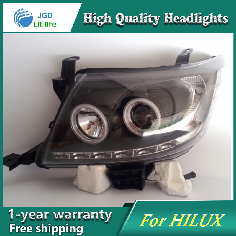 high quality Car styling case for Toyota Hilux Vigo 2004 2010 Headlights LED Headlight DRL Lens