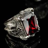MetJakt Punk Rock 925 Sterling Silver Garnet Ring & Hand Carved Dragon Claws and Ax Pattern Domineering Thai Silver Ring for Men