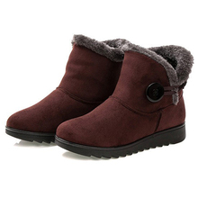 HEE GRAND Winter Women Boots Flock Warm Ankle Snow Boots 2018 Platform Mother Shoes Woman Slip On Flats Button Creepers