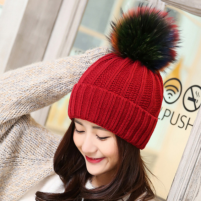 Fashion Women's Winter Hat Faux Fur Pompom Ball Knitted Beanies Cap Women Warm Crochet Pom Pom Hats 9 Color