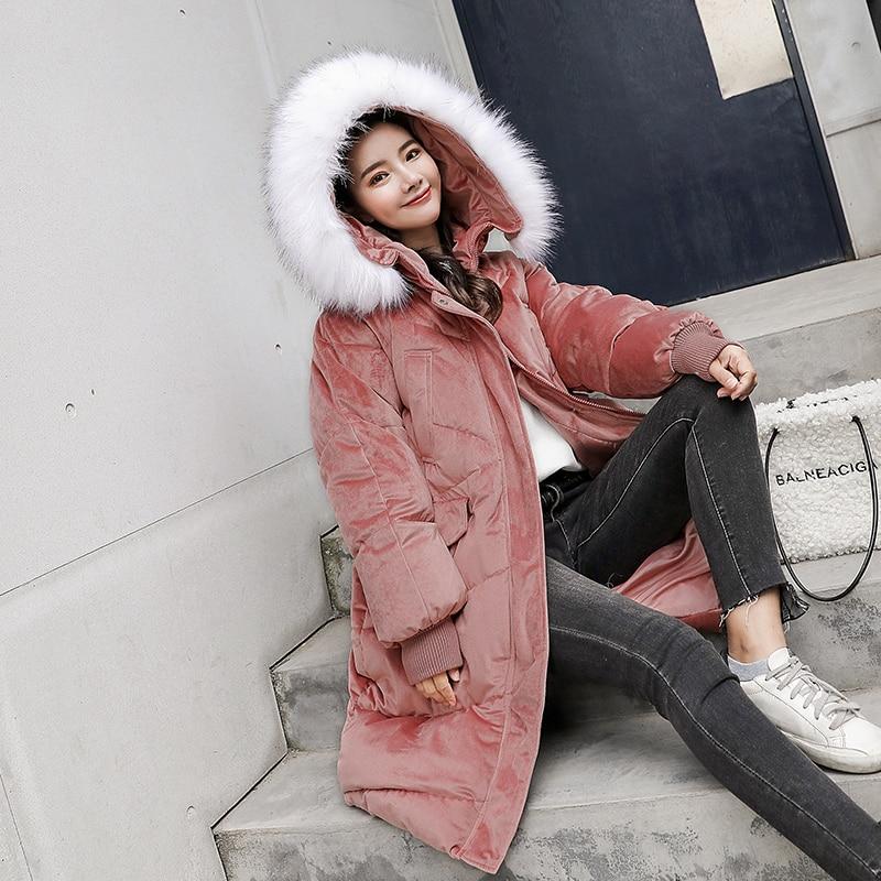2019 Nouveau Fourrure Pink Femmes Dame Chaud Grand De La white À blue Manteau Taille Outwear Tops blue Épaissir Coton Capuchon Velours D'hiver Vestes Col Plus W9H2IED