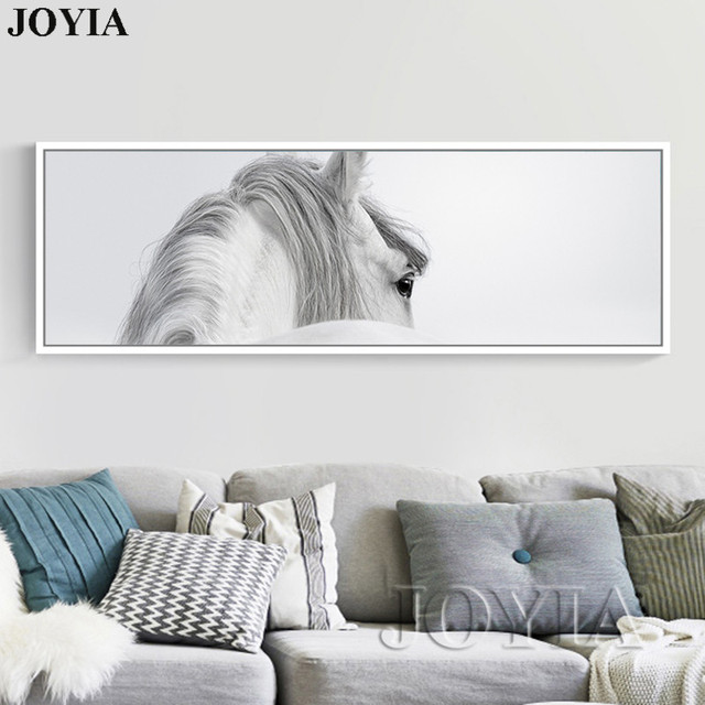 Large Size Horse Painting Abstract White Horses Wall Art Canvas Picture  Minimalist Animal Posters For Living