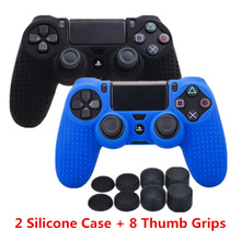 For Sony Dualshock PS4 DS4 Slim Pro Controller Silicone Case Protective Skin + Thumb grips Caps for Play station 4