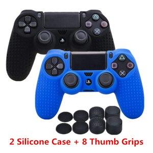Image 1 - Силиконовый чехол для контроллера Sony Dualshock PS4 DS4 Slim Pro, защитный чехол + колпачки для захвата большими пальцами для Play station 4