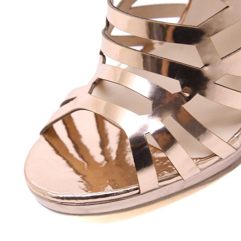 Fiesta 13 Sandalias Las Mujer Verano Alto Hueco Mujeres Gladiador Tacón 2019 De Oro Zapatos Cm Cuero Patente fAnrfS6