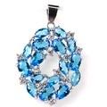 Pretty Swiss Blue Topaz, White Cz SheCrown Created Woman's Wedding  Silver Pendant 33x13mm