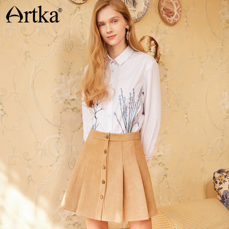 fb31c0e30d Artka Summer 2018 New Pearl Embroidery Decorative Button All match Full Sleeve  Female Fresh White Floral Shirt SA11285C-in Blouses   Shirts from Women s  ...