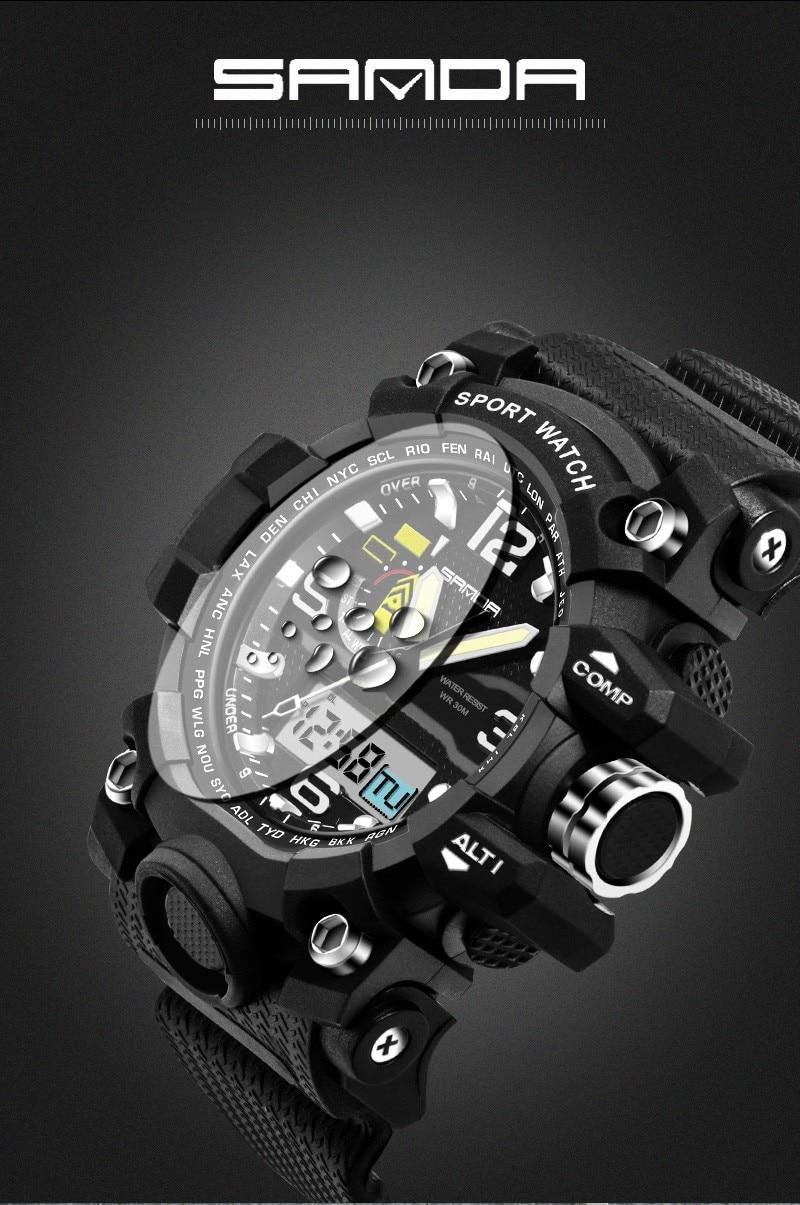 Relojes para hombre 2016 Sanda reloj de moda Hombres estilo G deportes  impermeables relojes militares shock lujo analógico digital deportes Relojes 6e76992ab9ce