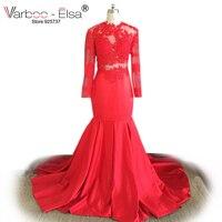 VARBOO_ELSA 2018 czerwona sukienka na studniówkę sexy Koronki Z Długim Rękawem Mermaid Suknie Wieczorowe Aplikacja Wysoka Neck Pociąg Sweep Elegancki Prom Dresses