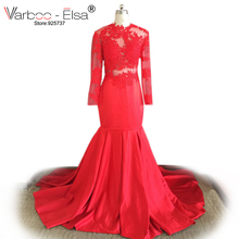 VARBOO_ELSA 2018 red prom dress sexy Long Sleeve Mermaid Evening Gowns Lace Applique High Neck Sweep Train Elegant Prom Dresses