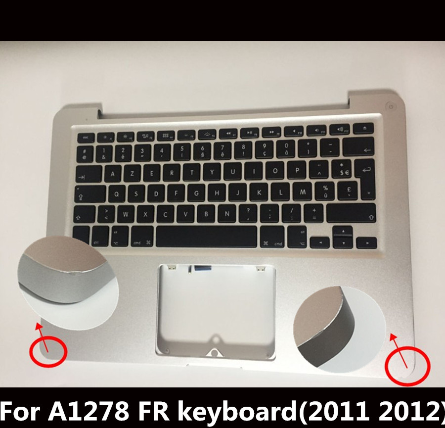 98% New FR Top Case French Palmrest Case for Macbook Pro 13 Laptop A1278 MC700 MD101 with Keyboard and Backlight 2011 2012 Year original top case palmrest for macbook pro unibody 13 a1278 2011 2012 years