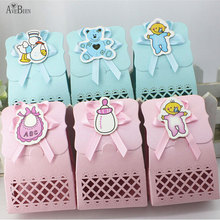 50 pcs Cute Baby Shower candy box Event Party Supplies Decoration Boy Paper Baptism Blue Kid Favors Gift Sweet Birthday Bag
