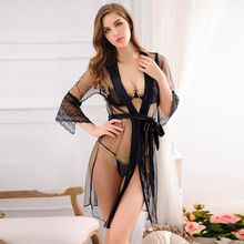 New high-end nightgown sexy pajamas temptation in the spring of ultra-thin transparent charming nightgown lingerie dress
