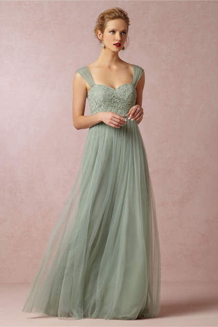 9bd9e42c86 Online Shop Mint Green Long Bridesmaid Dresses Long Dress To Party Wedding  Sheer Strap Prom Gown Vestido Madrinha Casamento Imported China