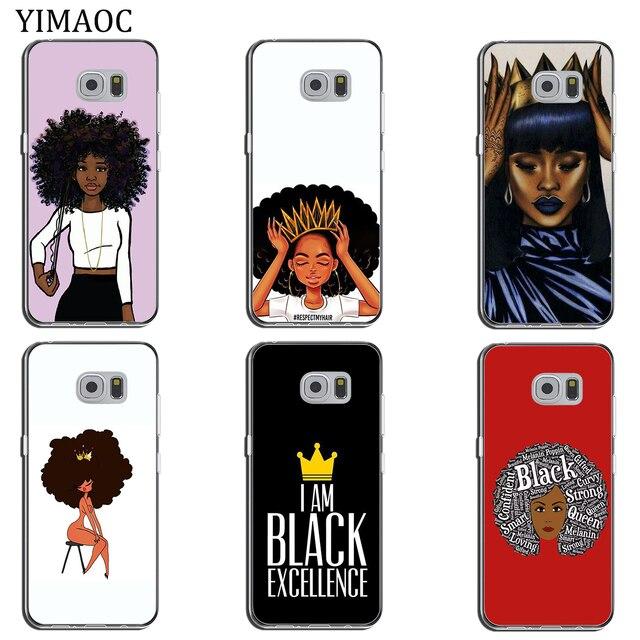 N'DJAMENA Coque de téléphone Afro Filles mince Souple Tpu Silicone Cas de Téléphone pour Samsung Galaxy S9 S8 Plus S7 Bord Note 9 8 retour Couvercle Transparent 2