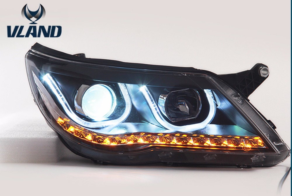 Free Shipping for VLAND Car Styling LED Head Lamp For Volkswagen Tiguan 2010-2012 Headlights U  DRL Lens Projector Xenon for volkswagen polo mk5 vento cross polo led head lamp headlights 2010 2014 year r8 style sn