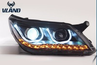 Car Styling LED Head Lamp For Volkswagen Tiguan 2010 2012 Headlights U Angel Eyes DRL Lens