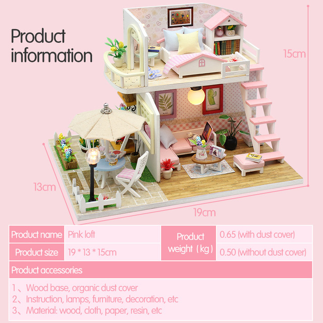 Doll House Miniature DIY Dollhouse With Furnitures Wooden House Waiting Time Coffee House Toys For Children Girls Gift M033