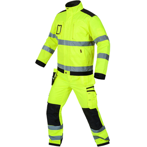 Image 2 - Bauskydd High visibility workwear suit work suit fluorescent yellow work jacket work pants with knee pads  free shipping