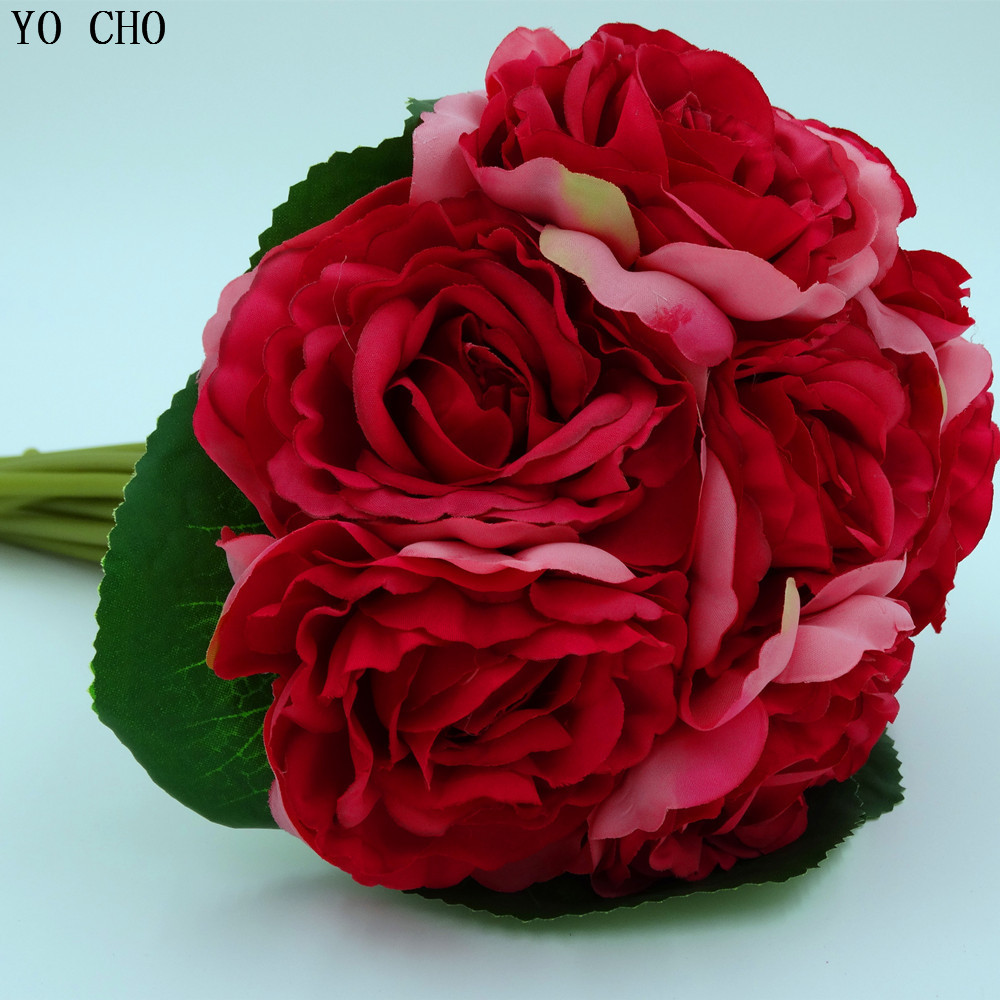 Wholesale Wedding Flower Supplie Rose Bouquet Pink Bridal Bridesmaid Silk Red Artificial Bouquets
