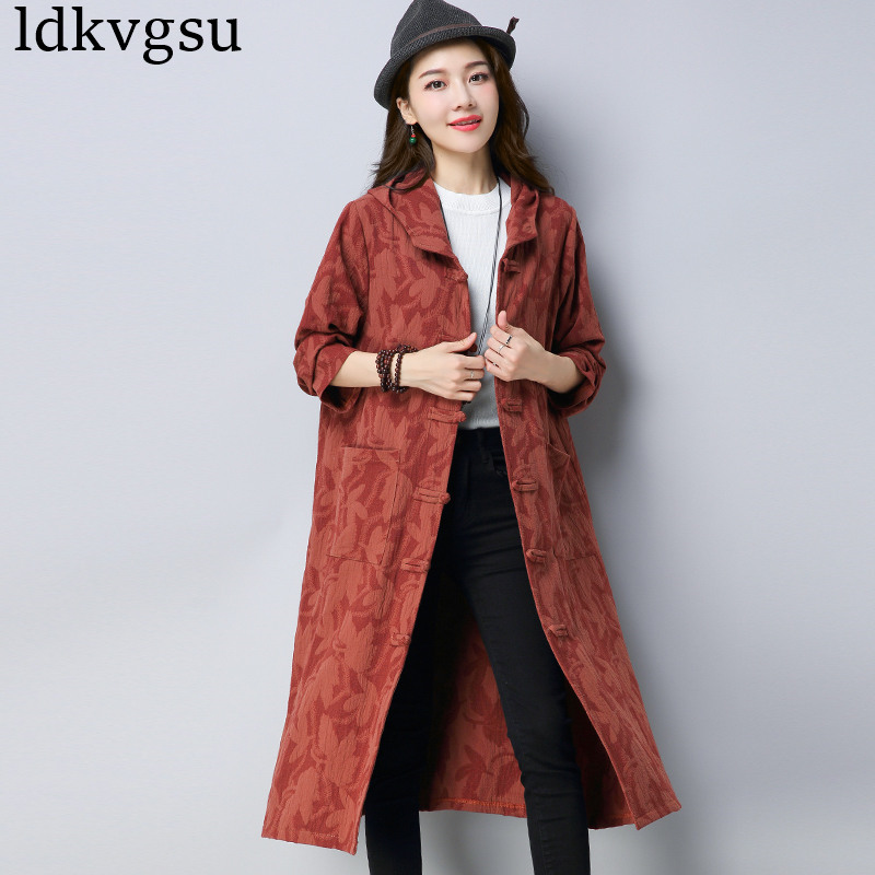 2019 New Fashion Long Section   Trench   Spring Autumn Coat National Wind Cotton Jacquard Retro Loose Hooded Women Outerwear A1415