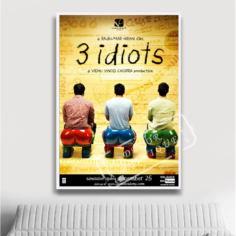 Funny Cool 3 idiots Indian Comedy Film Movie Decorative Vintage Poster Vintage DIY Wall Canvas Stickers Home Posters Bar Art Dec image