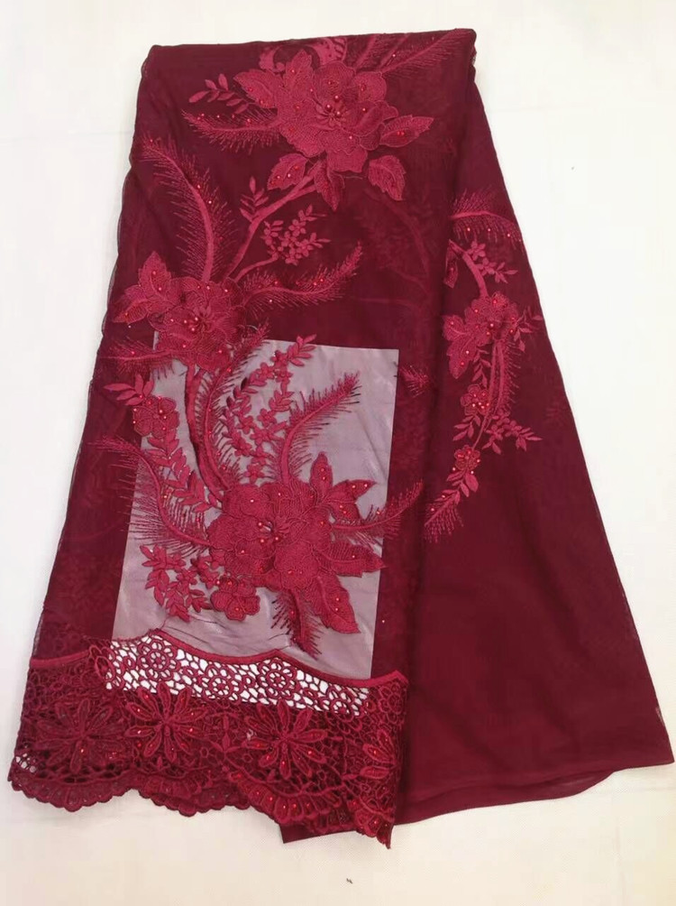 5 Y/pc Nice looking wine design french net lace fabric with beads and rhinestones african water soluble lace for clothes LJ13-45 Y/pc Nice looking wine design french net lace fabric with beads and rhinestones african water soluble lace for clothes LJ13-4