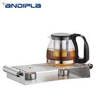 Creative Rectangle Stainless Steel Teapot Trivets Candle Holder Warmer Coffee Milk Teapot Warm Stove Heating Base Teaware Shelf