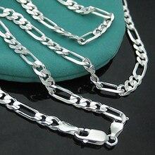 4 мм 16-30 дюймов длинная цепочка, ожерелье из стерлингового серебра 925 пробы, цепочка плетения «Фигаро» для мужчин, ювелирное изделие, цепочка в виде змеи для мужчин