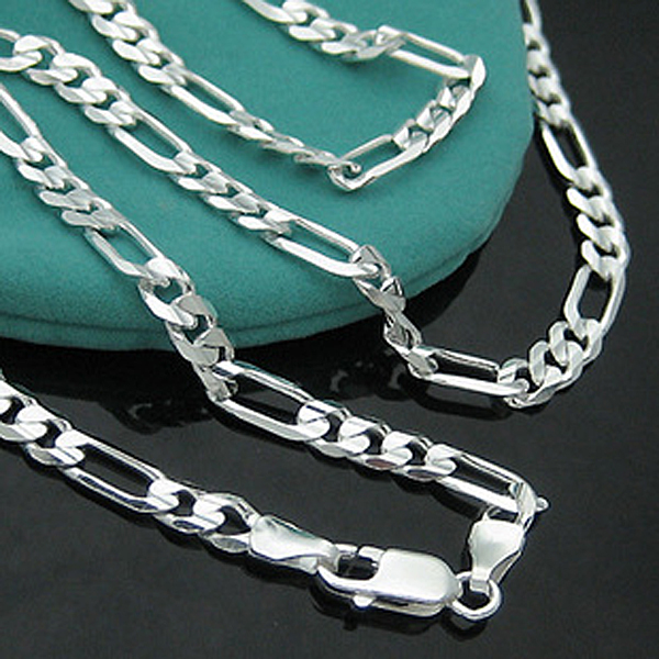 4MM 16-30inch Long Chain Necklace 925 sterling silver figaro necklace for Men Jewelry snake chain link chain necklace for women
