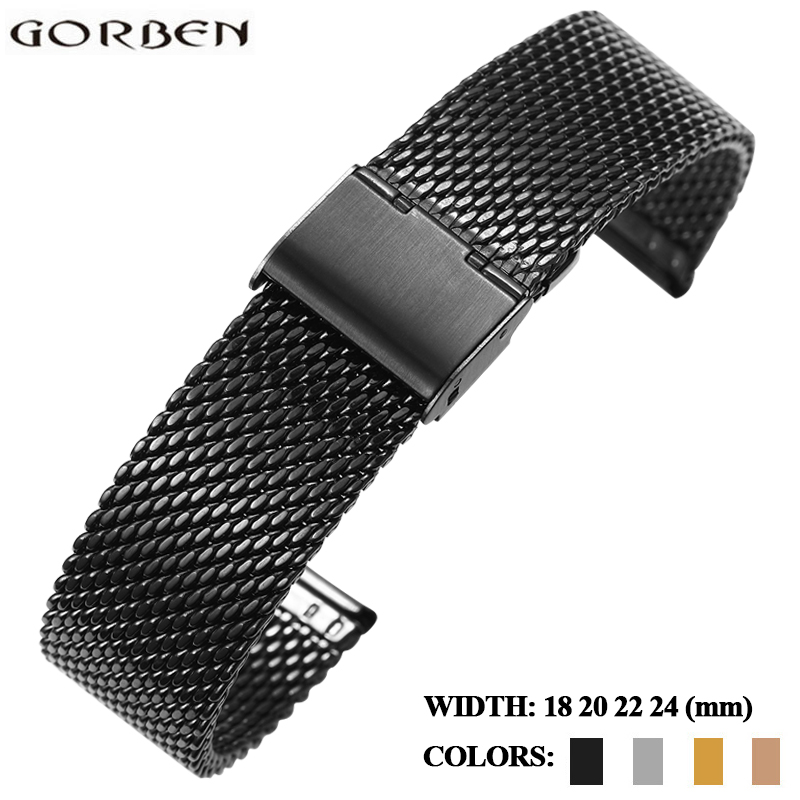 Watch Strap 18mm 20mm 22mm 24mm Metal Watch Bracelets Bands Black Rose Gold Stainless Steel Watchband For Tissot Casio Omega image