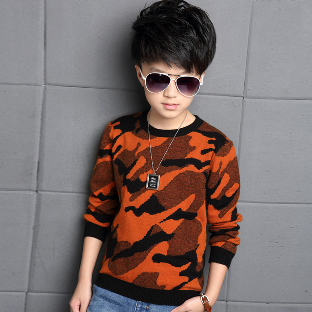 Children Clothes High Quality Baby Boys Pullovers Camouflage Sweaters 2016 Autumn/winter Warm Cartoon Kids Outerwear Tops