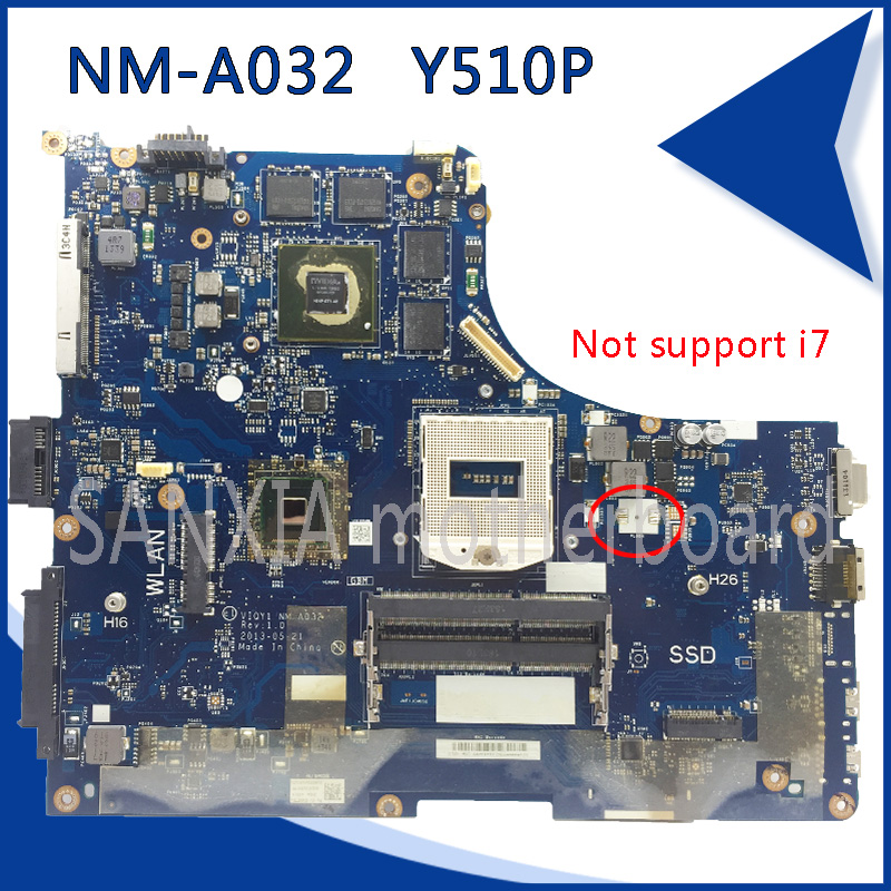 SHELI original VIQYI NM-A032 laotop motherboard for Lenovo Y510P motherboard GT750/GT755 video card support I3 I5 CPU tested