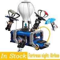 Fortaleza noite blocos brinquedos airbus mini construção móvel tijolos figuras presentes de natal para crianças crianças fortnighting modelo brinquedos