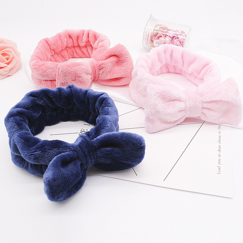 Cute Elastic Bow Headbands Coral Velvet Polka Dot Multi Color Hair Band Face Wash Make Up Hair Accessories 1 Pcs