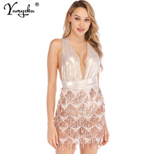 Sexy Satin tassel Sequins Summer dress women bandage bodycon Backless beach Party dress robe femme Night club dresses vestidos цена и фото