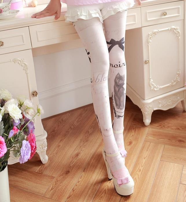 abb62048d Ink Paint Cat Kawaii Womens Lolita Velet Tights Cute Harajuku Pantyhose  Vintage Spring Thin Color Cream Pink