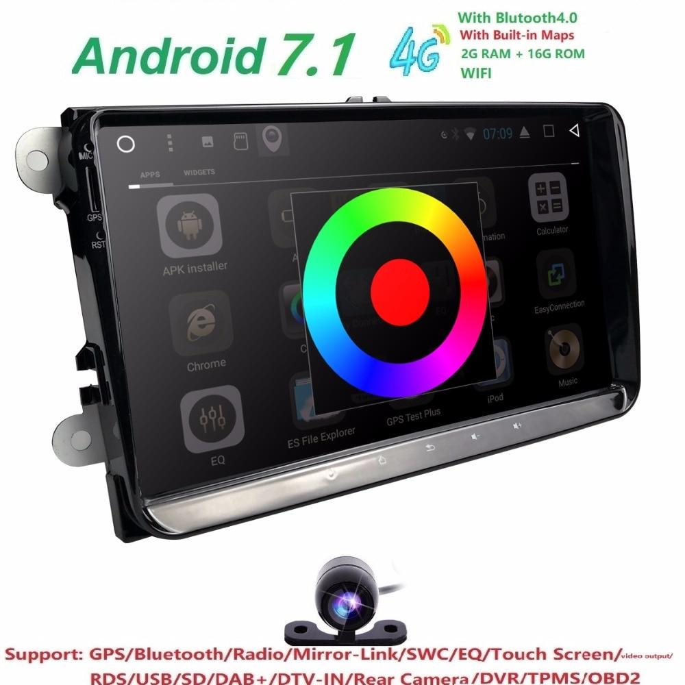 Hizpo 2din android 7.1 2 + 16 auto NOdvd b6 golfi jaoks 4 5 tiguan - Autode Elektroonika - Foto 1