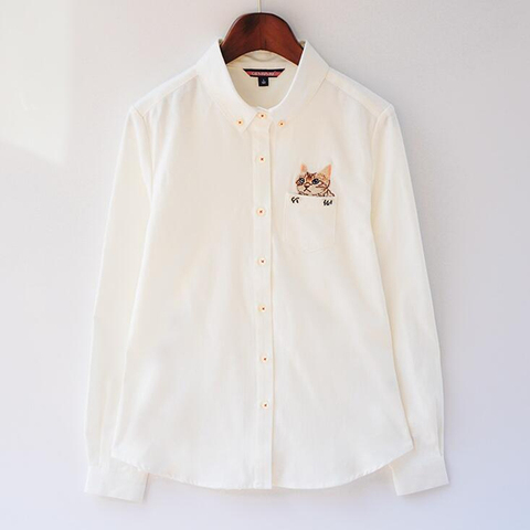 2019 Autumn New Fashion Women Blouses Slim Loose Turn-down Collar Long Sleeve Cat Embroidered Shirts Tops Clothes S-XL Islamabad