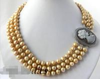 3Strands 18'' Round 9mm Champagne Freshwater Pearl Necklace jewerly free shipping