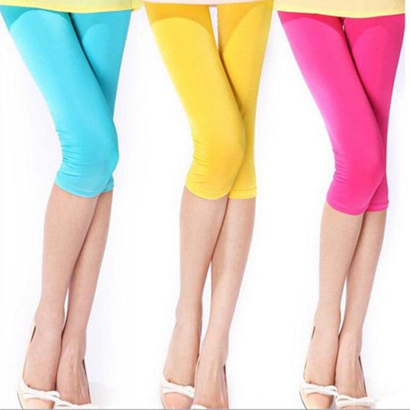 New Women Leggings Fitness Elastic Slim Mid Calf Pants Summer Stretch Skinny Leg Pants Jeggings Fitness Trousers
