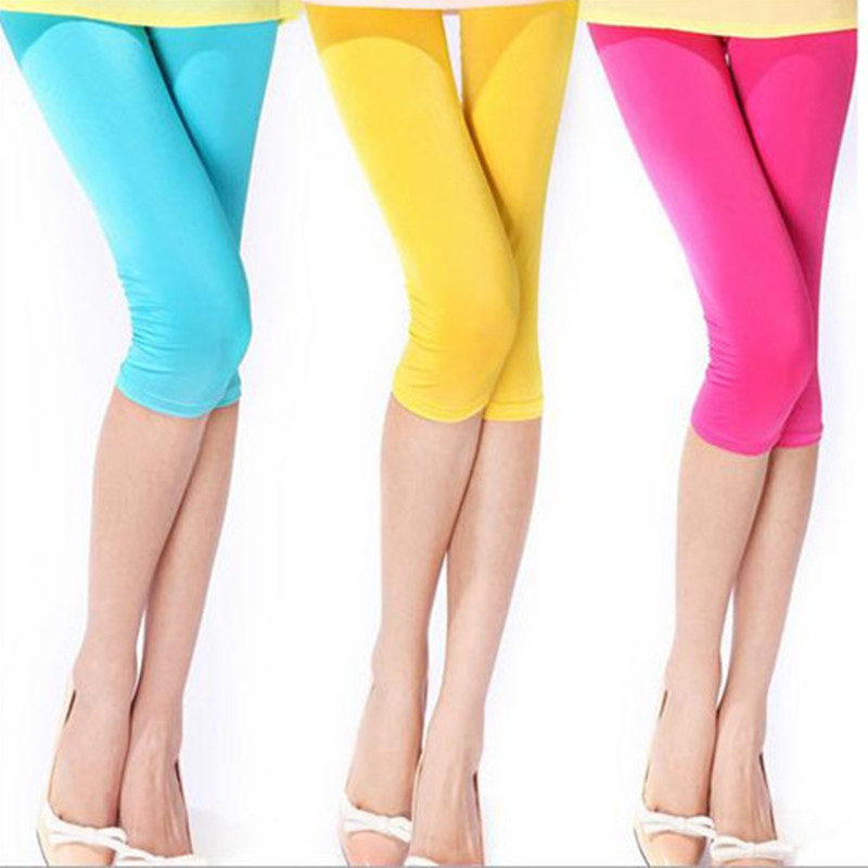 New fashion Candy-colored ice silk cropped   leggings   summer style Women Cropped   Leggings   elastic waist Leg Pants girls trousers